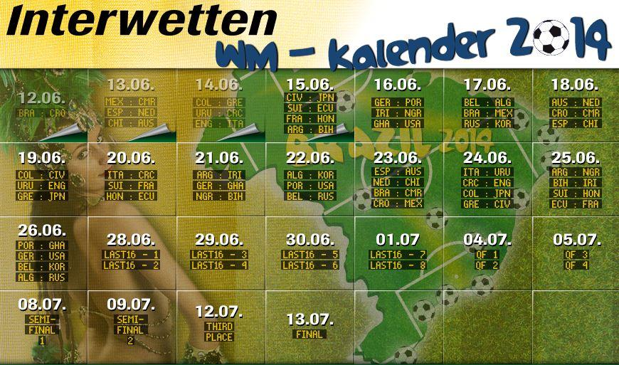 Interwetten WM kalender